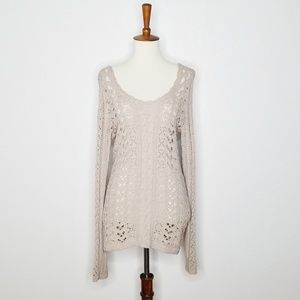 Free People Open Knit Tie Back Sweater - Size L